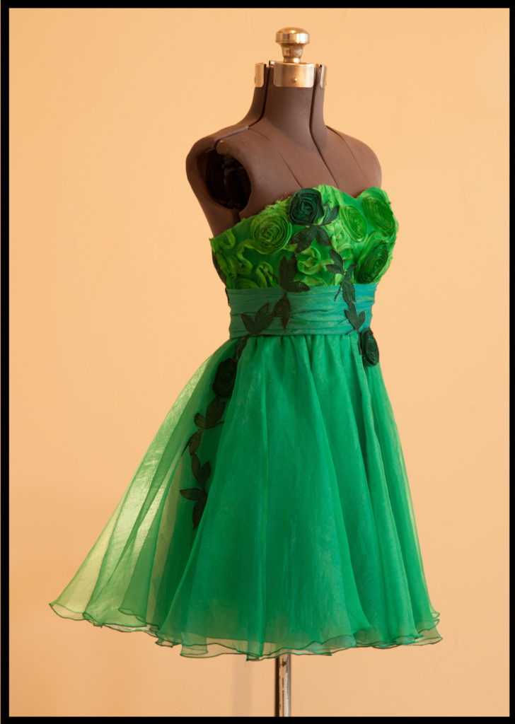 Custom-made strapless green dress with tulle skirt and wide waist ribbon.