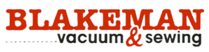 "Logo for Blakeman Vacuum and sewing in red and black.  The name Blackman and the symbol for ""and"" are both in red."