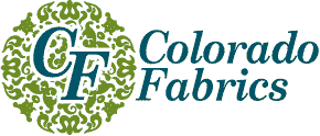 Logo for Colorado fabric.  Text is blue-green showing the letters C F on the left and the words Colorado Fabrics on the right.  There is a circle of decorative green behind the letters C F.