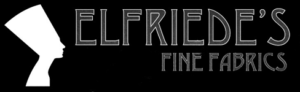 Logo for Elfriede's Fine Fabrics.  The text is in all capitals on the right and a side image of a woman in a tall (Egyptian?) hat is on the left.  The text and woman are white, embedded in a black rectangle.