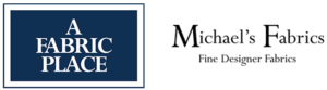 "Logo for Michael's Fabrics.  On the left is a dark blue box with the words ""A Fabric Place"" written in white.  On th Right is the text ""Michale's Fabrics: Fine Designer Fabrics."""