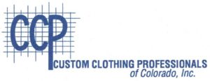 A blue and white logo with the letters C C P in the upper left over a grid of lines.  The words Custom Clothing Professionals of Colorado Inc. are written on the lower right.