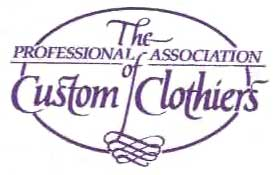 A purple and white logo with an oval overwritten with the words The Professional Association of Custom Clothiers and a scroll underneath